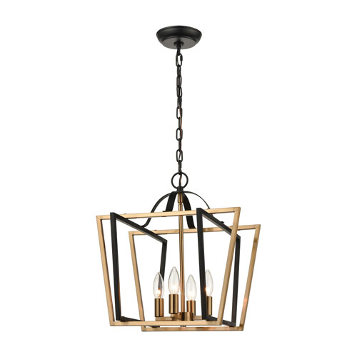 Bridgette Matte Black and Satin Brass 16-Inch Four-Light Pendant