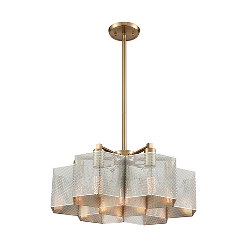 Compartir Polished Nickel and Satin Brass Seven-Light Pendant