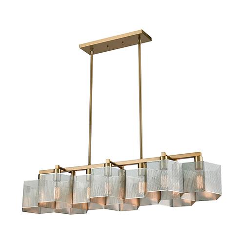 Compartir Polished Nickel and Satin Brass 10-Light Island Pendant