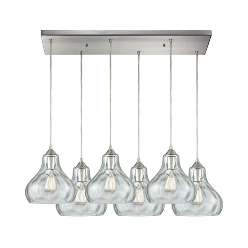 Elk Lighting Belmont: Elk Lighting Belmont Satin Nickel Six Light Pendant 25100