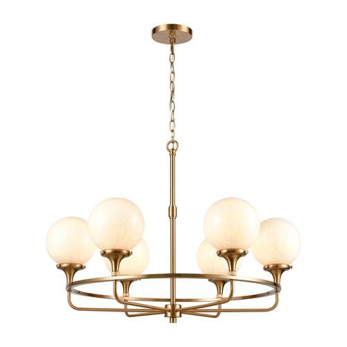 Beverly Hills Satin Brass Six-Light Chandelier