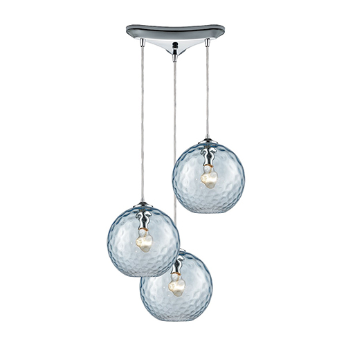 Watersphere Polished Chrome 100W Three-Light Pendant