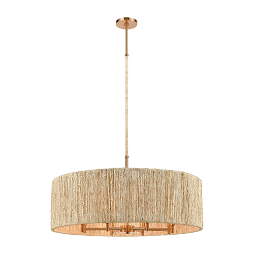 Abaca Satin Brass Eight-Light Pendant