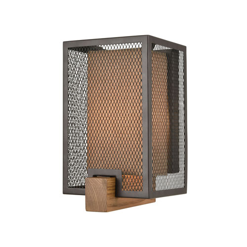 Crossbeam Oil Rubbed Bronze and Medium Oak One-Light Wall Sconce