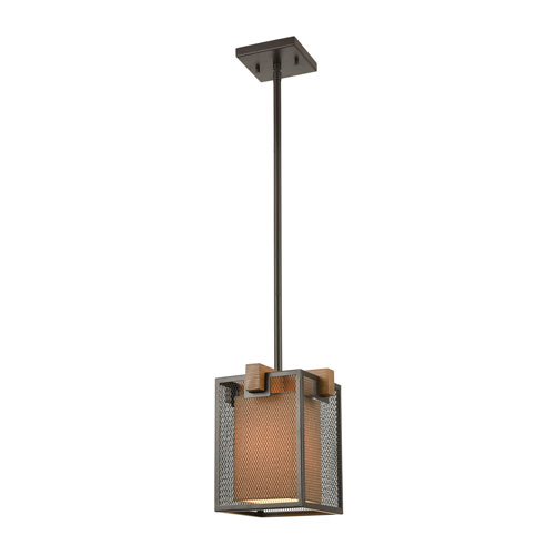 Crossbeam Oil Rubbed Bronze and Medium Oak One-Light Mini Pendant