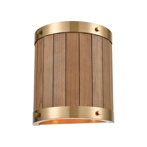 Wooden Barrel Satin Brass and Medium Oak Two-Light Wall Sconce