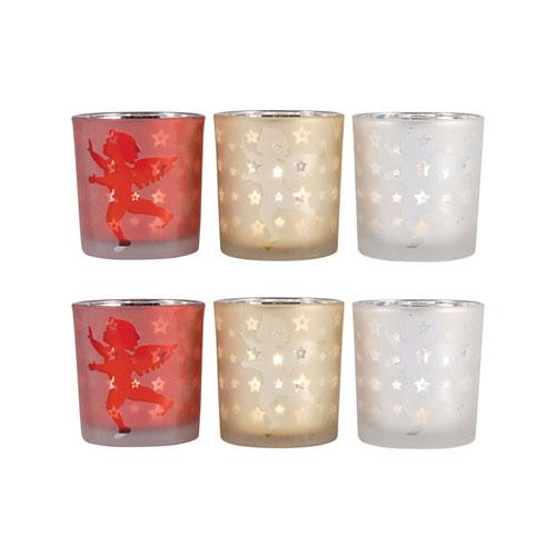 Cherubs Red, Gold, and White Votive, Set of Six