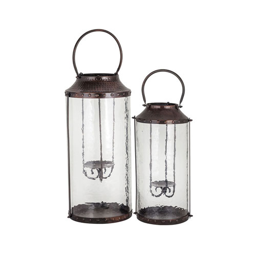 Pierce Metal and Glass Outdoor Lantern, Set of Two
