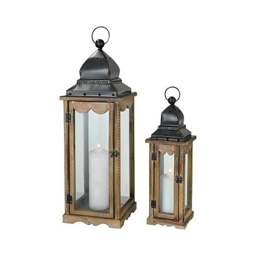 Pittington Dark Roast Outdoor Lantern, Set of Two