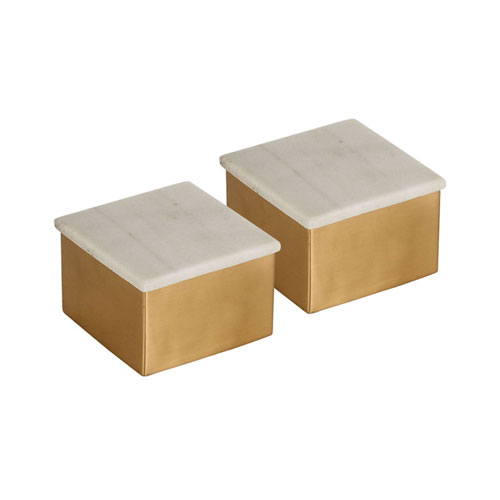 Castelby Antique Brass and Marble Boxes, Set of Two