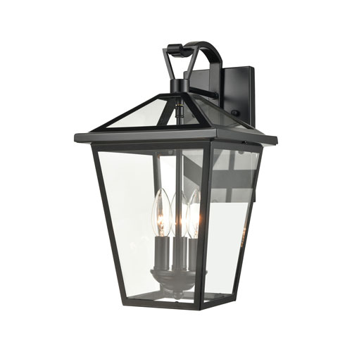 Main Street Black Three-Light Outdoor Wall Sconce