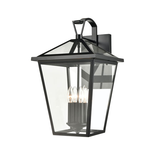 Main Street Black 12-Inch Four-Light Outdoor Wall Sconce