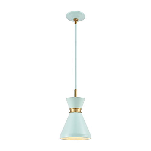 Modley Pastel Aqua and Brushed Brass One-Light Mini Pendant