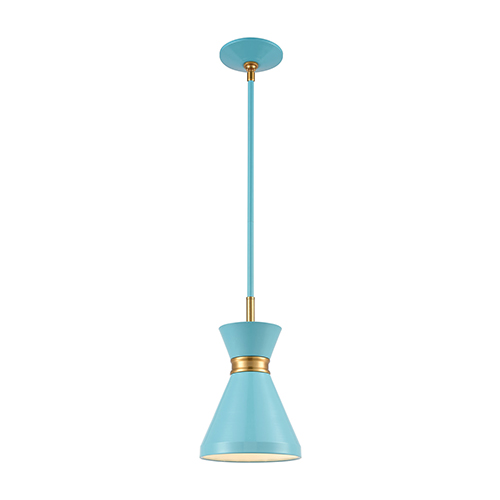 Modley Pastel Blue and Brushed Brass One-Light Mini Pendant
