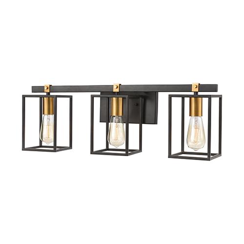 Cloe Matte Black and Brushed Brass Three-Light Vanity Light