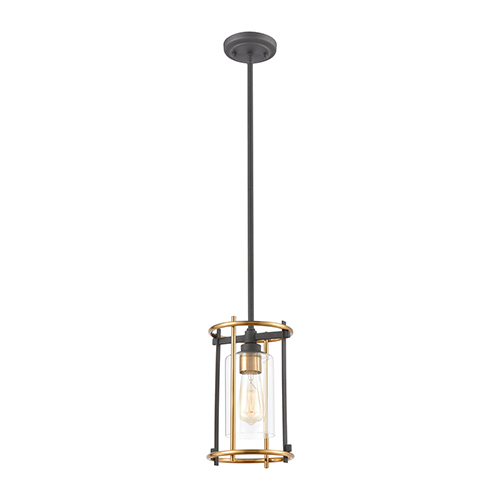 Millington Charcoal and Brushed Brass One-Light Mini Pendant