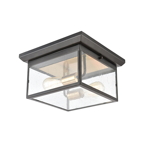 Knowlton Matte Black and Brushed Brass Two-Light Flush Mount