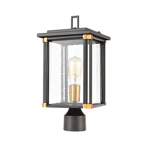 Vincentown Matte Black and Brushed Brass One-Light Outdoor Post Mount