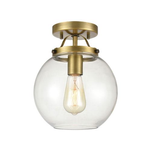 Bernice Brushed Antique Brass One-Light Semi Flush Mount