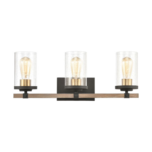 Geringer Charcoal and Burnished Brass Three-Light Bath Vanity