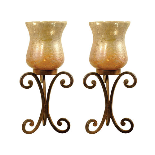 Range Artifact Multi-Colored Candle Holder, Set of Two