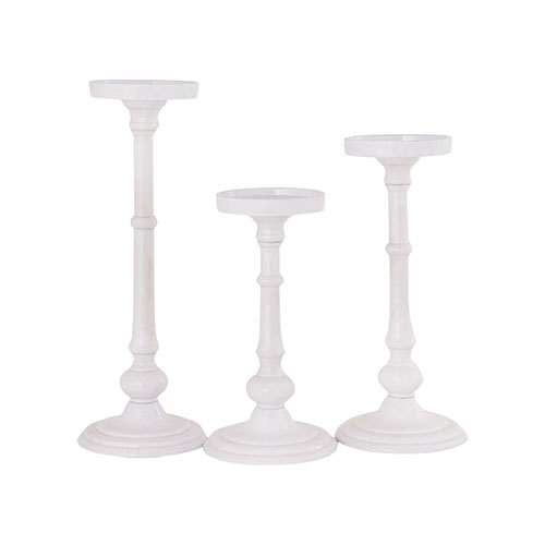 Fiddlers White Candle Holder, Set of Three