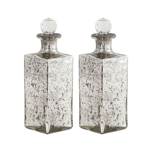 Fiore Antique Silver Vase, Set of Two