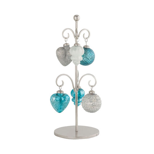 Glazyer Antique Silver and Blue Ornament Stand