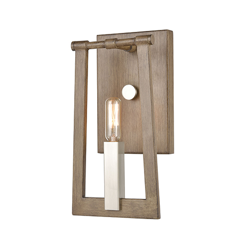 Light Wood and Satin Nickel One-Light ADA Wall Sconce