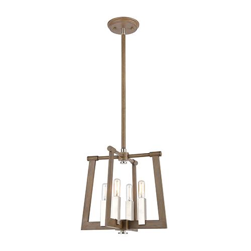 Light Wood and Satin Nickel Four-Light 13-Inch Pendant