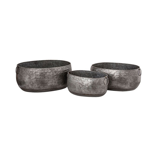 Mayfield Antique Galvanized Planter, Set of Three