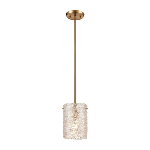 Chiseled Ice Satin Brass One-Light Mini Pendant