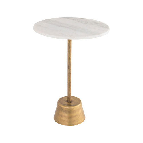 Barolo White Marble and Brass Side Table