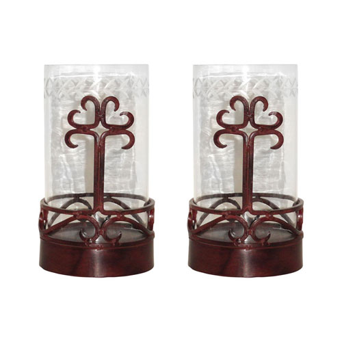 Tejas Metal and Glass Six-Inch Candle Holder, Set of Two