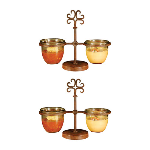 Pomeroy Tejas Metal and Glass 14-Inch Server, Set of Two