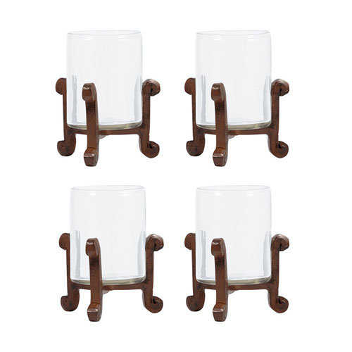 Santana Metal Four-Inch Candle Holder, Set of Four
