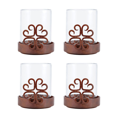 Tejas Metal Five-Inch Candle Holder, Set of Four