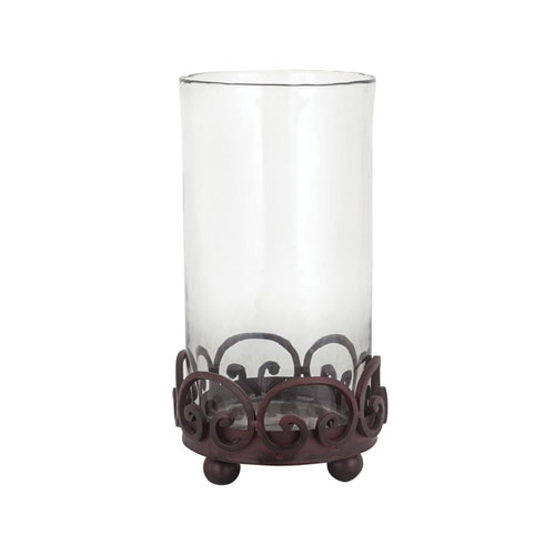 Corona Metal and Glass Hurricane Candle Holder