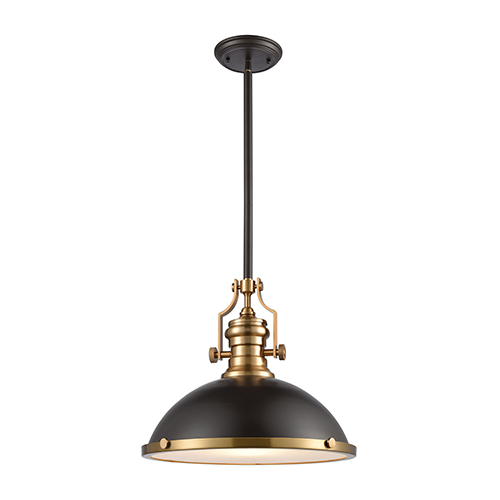 Chadwick Oil Rubbed Bronze and Satin Brass One-Light Pendant