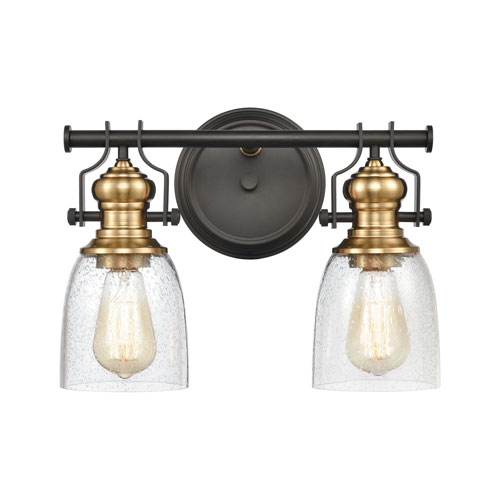 Chadwick Oil Rubbed Bronze and Satin Brass Two-Light Bath Vanity