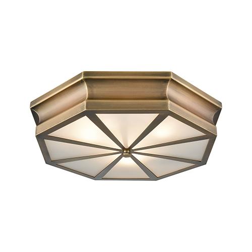Windsor Classic Brass 20-Inch Three-Light Flush Mount