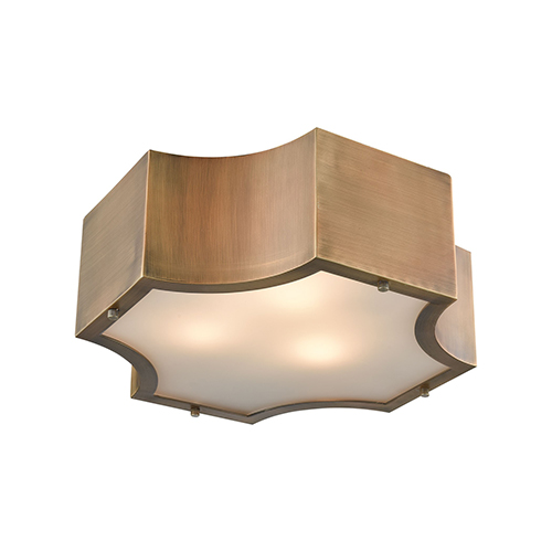 Gordon Classic Brass Three-Light Flush Mount