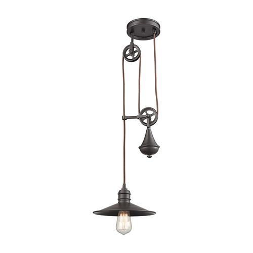 Spindle Wheel Oil Rubbed Bronze One-Light Mini Pendant