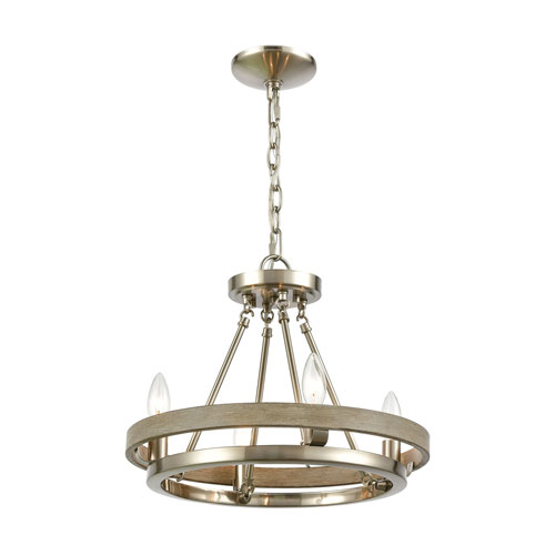 Ramsey Satin Nickel and Beechwood Four-Light Chandelier