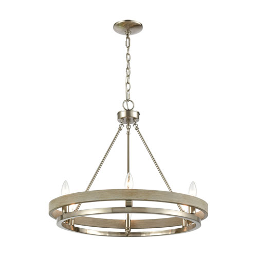 Ramsey Satin Nickel and Beechwood Eight-Light Chandelier