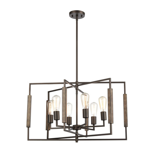 Zinger Oil Rubbed Bronze and Aspen Six-Light Chandelier