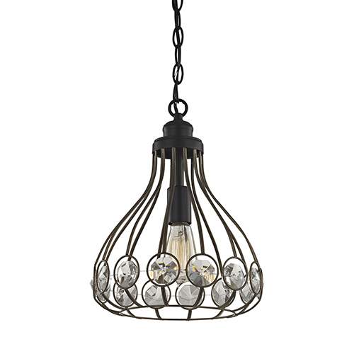 Crystal Web Bronze Gold and Matte Black 60W One-Light Pendant