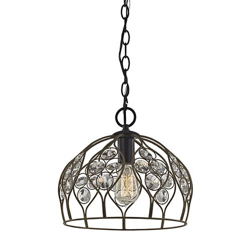 Crystal Web Bronze Gold and Matte Black One-Light Pendant