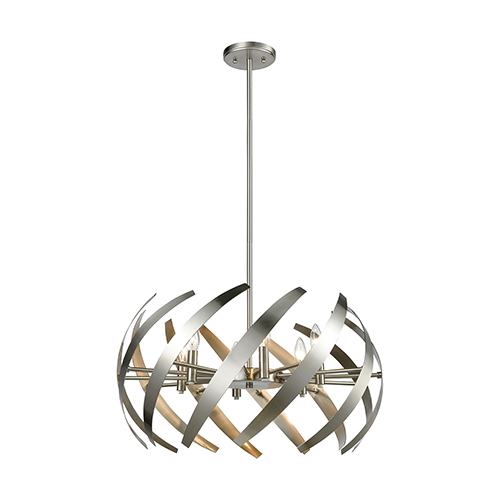 Carthage Satin Nickel Six-Light Pendant