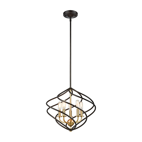 Iredell Oil Rubbed Bronze and Satin Brass Five-Light Pendant